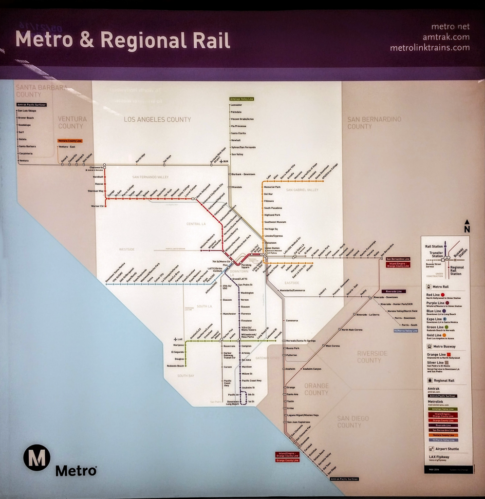 Newly release Metro and Regional Rail map for Southern California